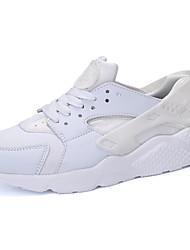 Feminino Tênis Conforto Tule Couro Ecológico Primavera Outono Casual Corrida Cadarço Rasteiro Branco Preto Branco/Preto 7,5 a 9,5 cm