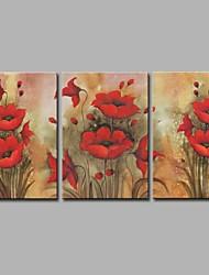 abordables -Pintada a mano Floral/Botánico Artístico Rústico Moderno/Contemporáneo Oficina/ Negocios Navidad Año Nuevo Tres Paneles LienzosPintura al