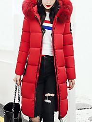 Women's Fashion Slim Thin Short Padded Coat Simple Cute Casual/Daily Solid-Nylon Polypropylene Long Sleeve