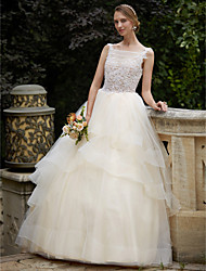 cheap -Ball Gown Bateau Neck Court Train Lace Tulle Wedding Dress with Beading Appliques Tiered by LAN TING BRIDE®