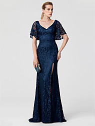 cheap -Sheath / Column V Neck Sweep / Brush Train Lace Cocktail Party / Formal Evening / Black Tie Gala / Holiday Dress with Split Front by TS