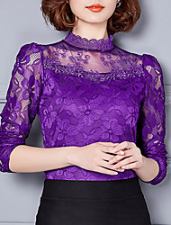 cheap -Women's Polyester T-shirt - Solid, Lace Stand