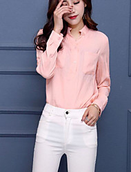 Women's Casual/Daily Simple Shirt,Solid V Neck Long Sleeves Linen
