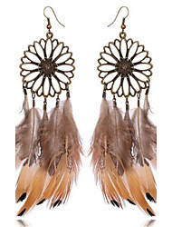 Women's Drop Earrings Oversized Vintage Personalized Alloy Flower Feather Jewelry For Beach Holiday Going out