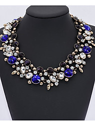 Women's Collar Necklace Sapphire Synthetic Aquamarine Peridot Synthetic Amethyst Multi-stone Synthetic Emerald AAA Cubic Zirconia