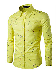 cheap -Men's Business Casual Cotton Slim Shirt - Solid Colored, Print