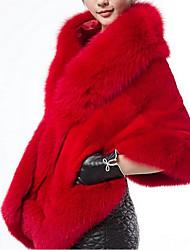 Недорогие -Жен. Пальто с мехом Квадратный вырез Однотонный, Искусственный мех