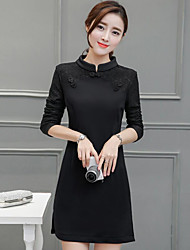 cheap -Women's Daily Little Black Dress,Solid Round Neck Above Knee Long Sleeves Cotton Winter Mid Rise Inelastic Thin