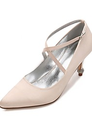 cheap -Women's Shoes Satin Spring / Summer Comfort / D'Orsay & Two-Piece / Basic Pump Wedding Shoes Pointed Toe Rhinestone / Sparkling Glitter /