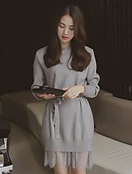 Women's Going out Casual/Daily Cute Street chic A Line Sheath Dress,Solid Round Neck Midi Long Sleeves Cotton Modal Acrylic Spring Summer
