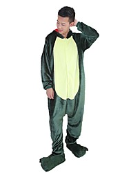 cheap -Kigurumi Pajamas with Slippers Dinosaur Dragon Onesie Pajamas Costume Flannel Fabric Green Pink Cosplay For Adults' Animal Sleepwear