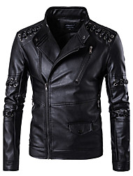 Men's Plus Size Casual/Daily Work Club Simple Fall Winter Leather Jacket,Solid Stand Long Sleeve Regular PU Rayon Oversized