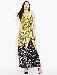 Women's Party Beach Sexy Boho Sheath Dress,Print Deep V Maxi Sleeveless Polyester Summer Mid Rise Micro-elastic Medium