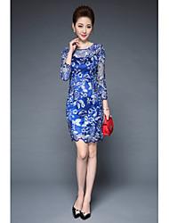 levne -Dámské Čínské vzory Pouzdro Šaty - Jednobarevné Květinový, Květinový Výšivka Nad kolena