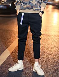 Da uomo A vita medio-alta Semplice Moda città Punk & Gothic Anelastico Chino Pantaloni,Taglia piccola Tinta unita