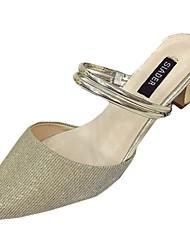 Women's Sandals Comfort Spring Summer PU Casual Low Heel Gold Silver Under 1in