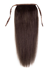 16inch -24inch Dark Brown 100% human hair clip in hairpiece high ponytail 80g