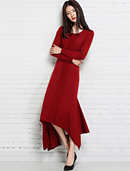 Women's Casual/Daily Regular Pullover,Solid Round Neck Long Sleeves Wool Fall Winter Medium Micro-elastic