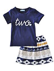 billige -Baby Pige Blomstret Trykt mønster Kortærmet Bomuld Tøjsæt