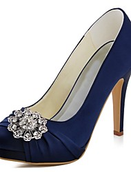cheap -Women's Shoes Stretch Satin Spring Fall Basic Pump Heels Stiletto Heel Round Toe Crystal for Wedding Dress Dark Blue Green Light Pink
