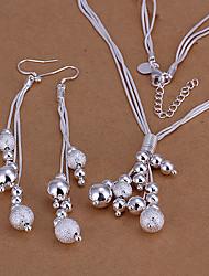 abordables -Mujer Conjunto de joyas - Plateado Bola Básico Incluir Pendientes colgantes / Collar Plata Para Boda / Fiesta / Diario
