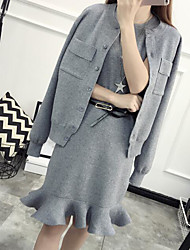 Damen Solide Einfach Lässig/Alltäglich Shirt Rock Anzüge,Gurt Herbst Frühling Lange Ärmel