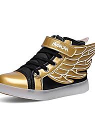 Garçon Baskets Chaussures Lumineuses Automne Hiver PU de microfibre synthétique Décontracté Scotch Magique Talon Plat Blanc Noir et Or