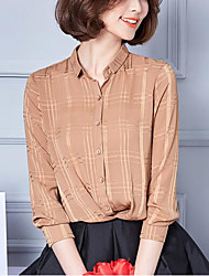 Women's Going out Casual/Daily Simple Cute Summer Fall Blouse,Solid Shirt Collar Long Sleeves Polyester Medium