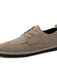 economico -Unisex Sneakers Suole leggere Primavera Autunno Materiali personalizzati Pelle di maiale Casual Lacci A quadri Piatto Nero Cachi Piatto