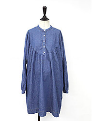 Women's Casual/Daily Denim Dress,Solid Stand Above Knee Long Sleeve Cotton Spring Mid Rise Micro-elastic Medium