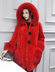 Cappotto di pelliccia Da donna Casual Semplice Autunno Inverno,Tinta unita Con cappuccio Pelliccia di agnello Lungo Manica lunga