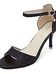 abordables -Femme Chaussures Polyuréthane Eté A Bride Arrière Sandales Marche Talon Aiguille Bout rond Or / Noir / Argent