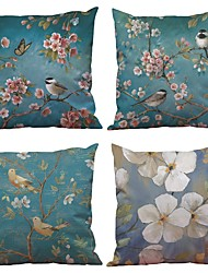 cheap -Set of 4  Blue Flowers and Birds Pattern Rayon Material Looks Like Silk Feeling Square Throw Pillow Cases Sofa Cushion Cover (18*18inch)