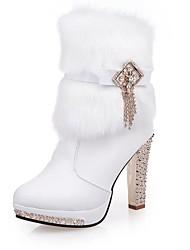 Women Cotton Warm High-heeled Shoes Winter Snow Boots