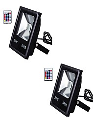 2pcs 20W IP65 Led Flood Light RGB with Remote Control Waterproof Floodlight for Home AC85-265V