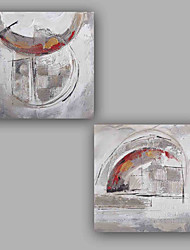 Peint à la main Abstrait Luxe Abstrait Classique & Intemporel Chic & Moderne Art Déco/Rétro Spéciale Moderne Deux Panneaux ToilePeinture