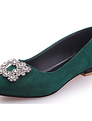 cheap -Women's Shoes PU Summer Comfort Flats Flat Heel Round Toe Beading for Casual Black Beige Red Dark Green