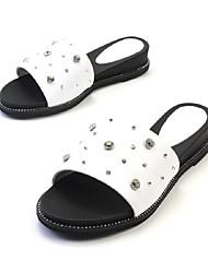 baratos -Feminino Chinelos e flip-flops Conforto Chanel MaryJane Sapatos para Daminhas de Honra Solados com Luzes Couro Pele Napa Primavera Verão