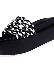 cheap -Women's Shoes PU Summer Comfort Slippers & Flip-Flops Walking Shoes Flat Heel Open Toe for Casual White Black Black/White