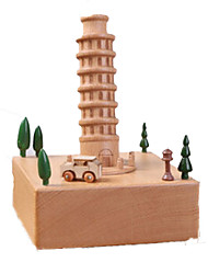 cheap -Music Box Wood Famous buildings Horse Carousel Unisex Gift