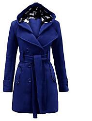 Для женщин На выход Зима Пальто Квадратный вырез,Простой Однотонный Длинная Длинный рукав,Полиэстер