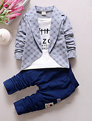 cheap -Boys' Plaid Patchwork Clothing Set, Cotton Spring Fall Long Sleeves Check Red Gray Yellow Light Green