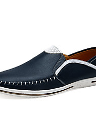 Men's Loafers & Slip-Ons Comfort Spring Fall Cowhide Casual Party & Evening Office & Career Split Joint Flat Heel White Black Dark Blue