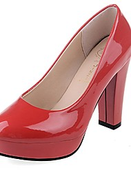 Women's Heels Light Soles Spring Fall PU Casual Dress Chunky Heel Ruby Beige Black White 2in-2 3/4in