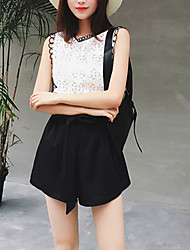 Women's Going out Casual/Daily Boho Summer Fall Blouse Pant Suits,Solid V Neck Sleeveless Lace Micro-elastic