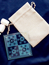 cheap -Snowflakes Glass Coaster -1pcs/bag - in Burlap Bag DIY Party Favors Beter Gifts® Life Style