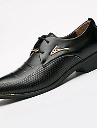 abordables -Homme Chaussures Microfibre Printemps Automne Chaussures formelles Oxfords Rivet pour Décontracté Bureau et carrière De plein air Noir