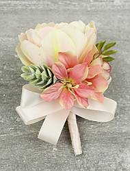 cheap -Wedding Flowers Grace Tulips Boutonnieres Wedding / Special Occasion Satin / Fabric Corsage for The Bridegroom