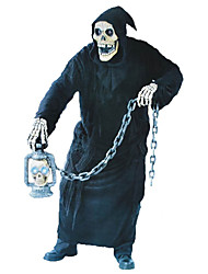 cheap -Grim Reaper Cosplay Costume Male Unisex Halloween Carnival Day of the Dead Festival / Holiday Halloween Costumes Black Vintage