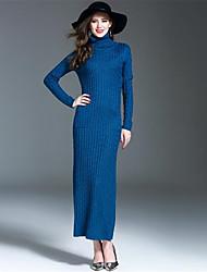 cheap -Women's Daily Sheath Dress,Solid Turtleneck Maxi Long Sleeves Wool Acrylic Winter Fall High Rise Micro-elastic Medium